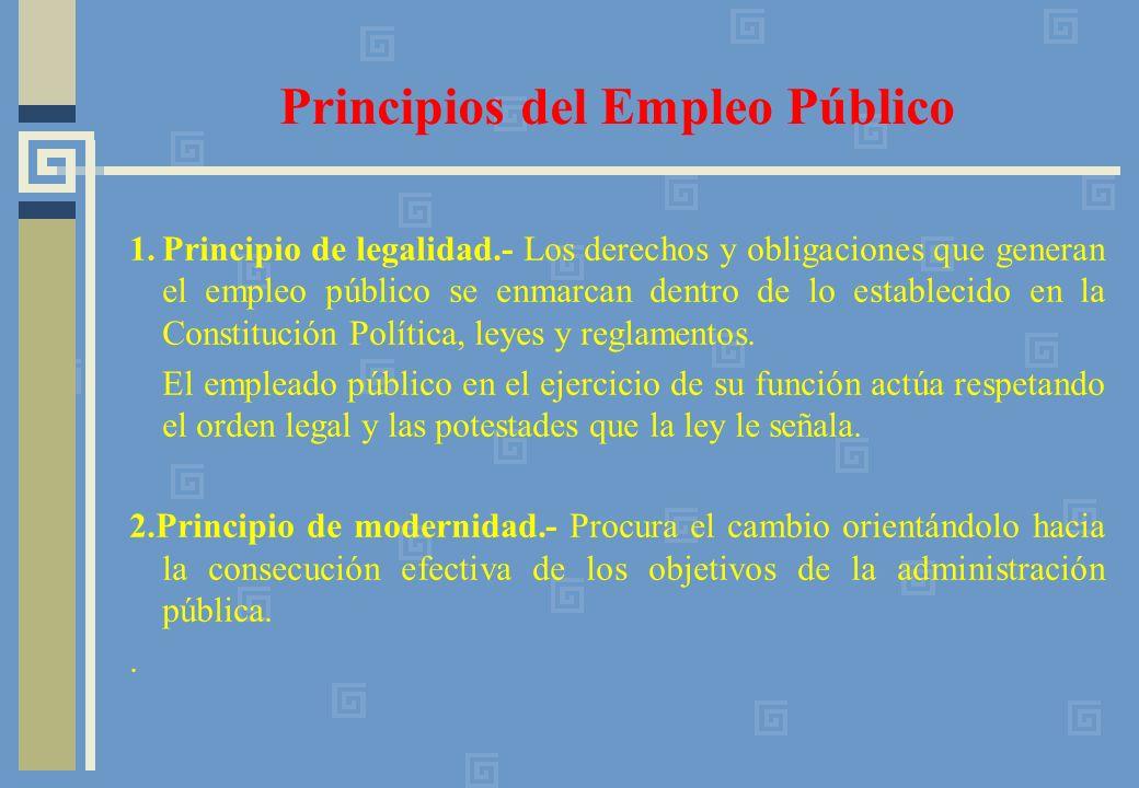 Principios del Empleo Público 1.Principio de legalidad.- Los derechos y obligaciones que generan el empleo público se enmarcan dentro de lo establecido en la Constitución Política, leyes y reglamentos.