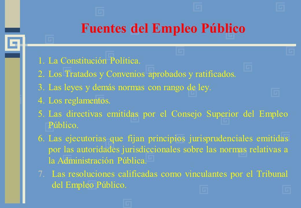 1.La Constitución Política. 2.Los Tratados y Convenios aprobados y ratificados. 3.Las leyes y demás normas con rango de ley. 4.Los reglamentos. 5.Las