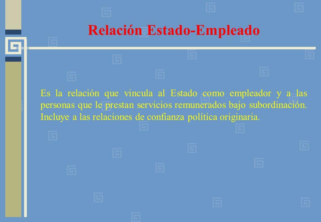 Es la relación que vincula al Estado como empleador y a las personas que le prestan servicios remunerados bajo subordinación.