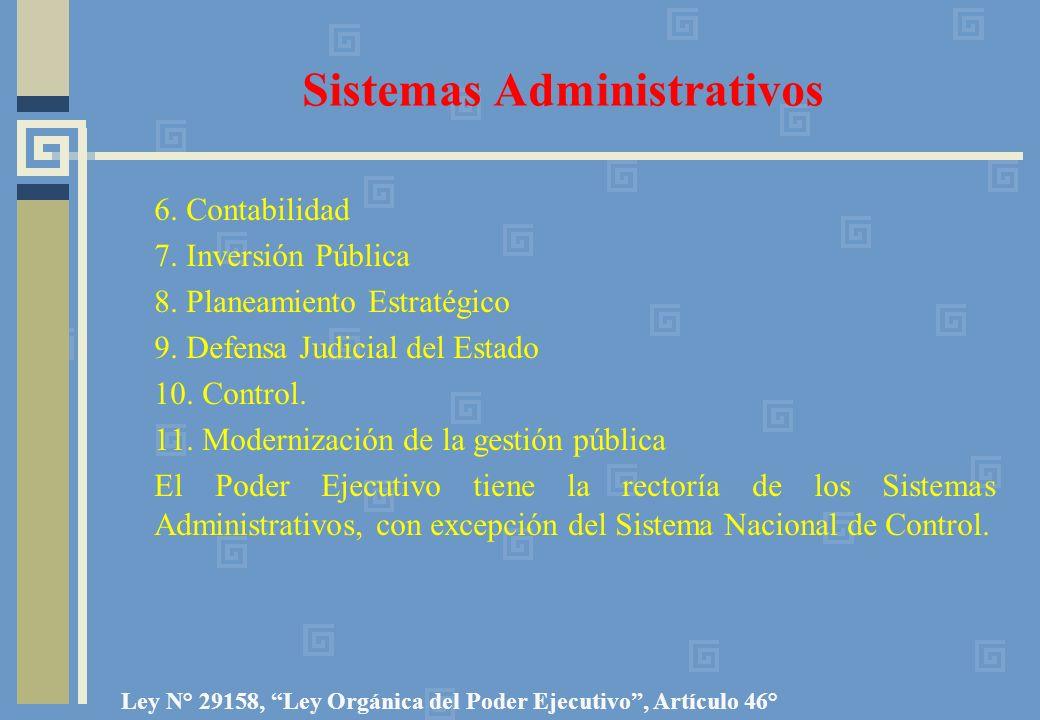 Sistemas Administrativos 6. Contabilidad 7. Inversión Pública 8. Planeamiento Estratégico 9. Defensa Judicial del Estado 10. Control. 11. Modernizació