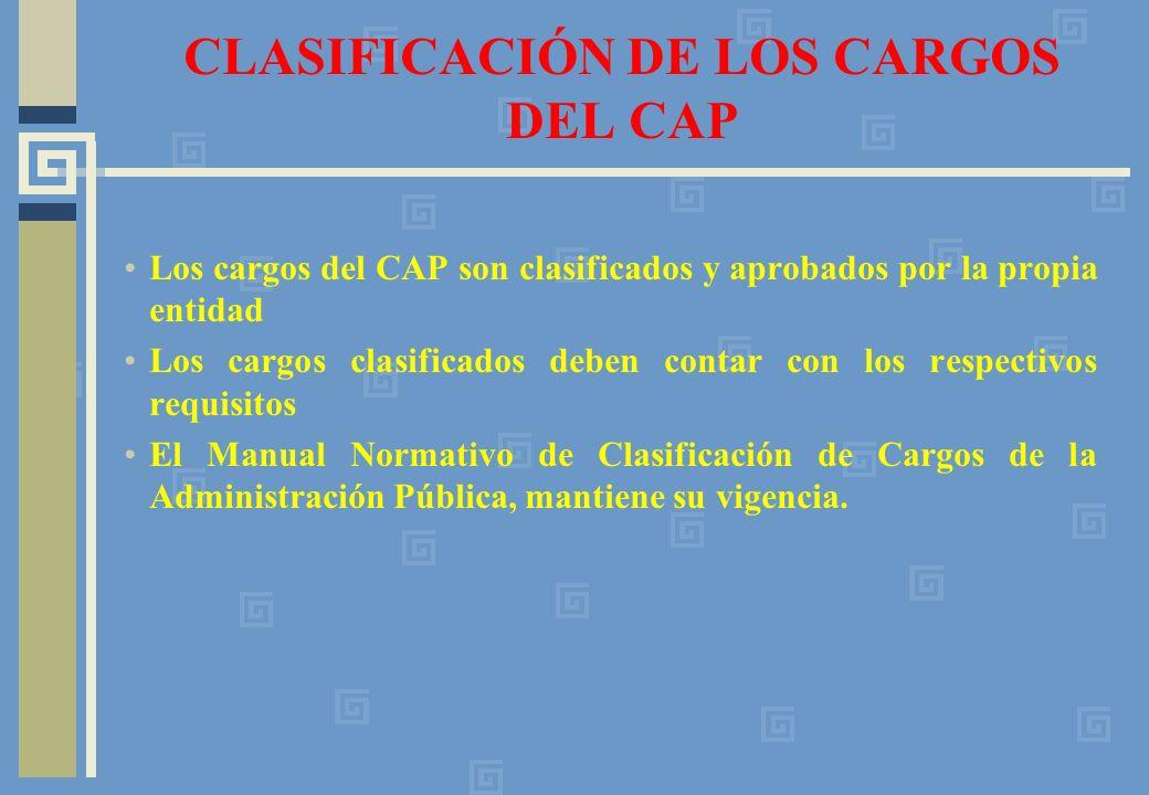 CLASIFICACIÓN DE LOS CARGOS DEL CAP Los cargos del CAP son clasificados y aprobados por la propia entidad Los cargos clasificados deben contar con los respectivos requisitos El Manual Normativo de Clasificación de Cargos de la Administración Pública, mantiene su vigencia.