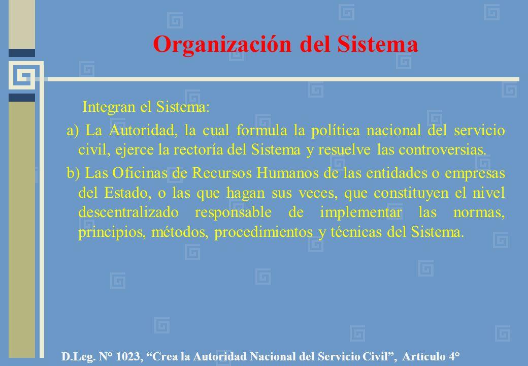 Organización del Sistema Integran el Sistema: a) La Autoridad, la cual formula la política nacional del servicio civil, ejerce la rectoría del Sistema y resuelve las controversias.