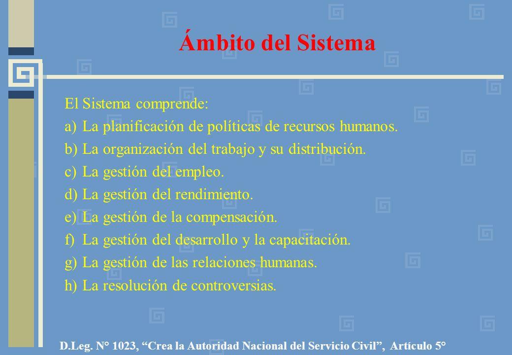 Ámbito del Sistema El Sistema comprende: a) La planificación de políticas de recursos humanos. b) La organización del trabajo y su distribución. c) La