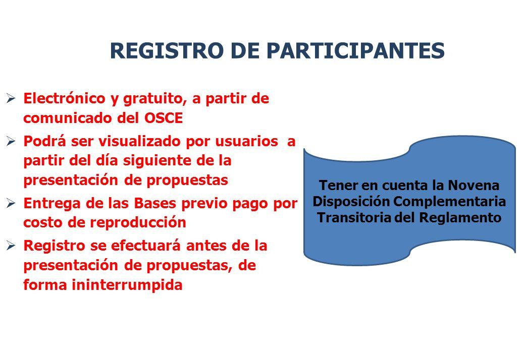 Electrónico y gratuito, a partir de comunicado del OSCE Podrá ser visualizado por usuarios a partir del día siguiente de la presentación de propuestas