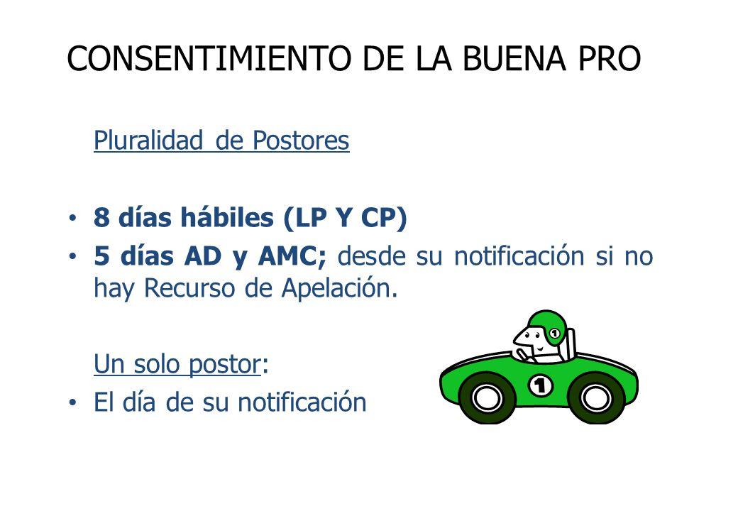Pluralidad de Postores 8 días hábiles (LP Y CP) 5 días AD y AMC; desde su notificación si no hay Recurso de Apelación. Un solo postor: El día de su no