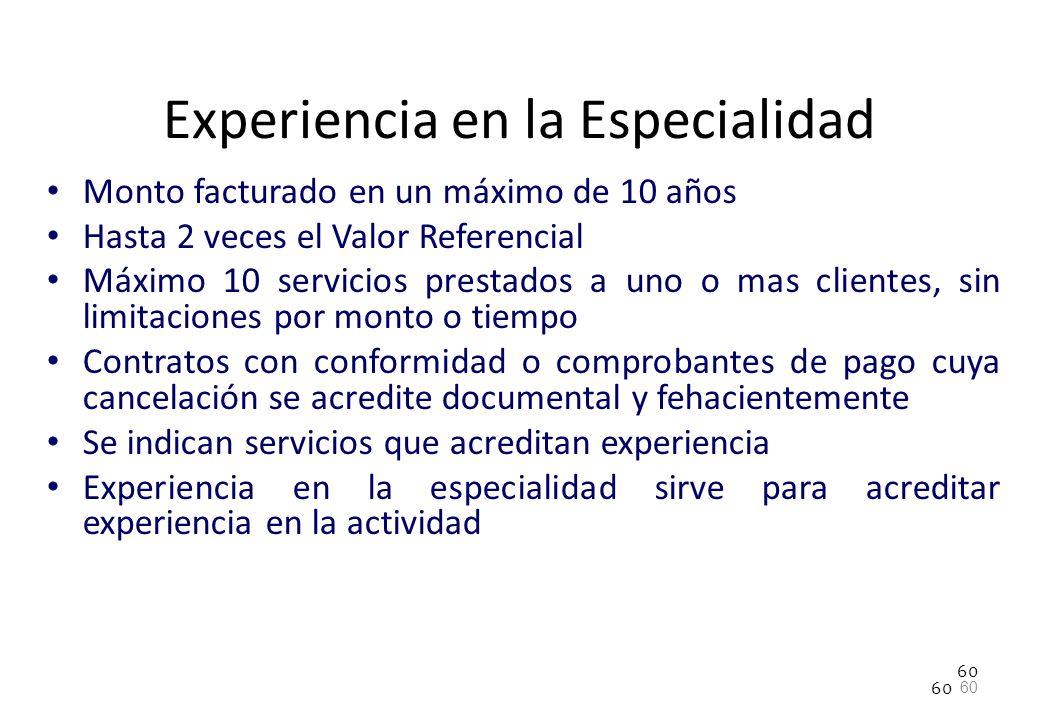 60 Experiencia en la Especialidad Monto facturado en un máximo de 10 años Hasta 2 veces el Valor Referencial Máximo 10 servicios prestados a uno o mas