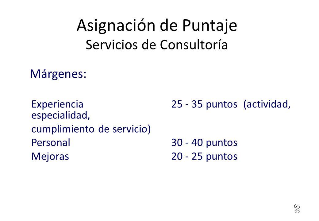 65 Asignación de Puntaje Servicios de Consultoría Márgenes: Experiencia 25 - 35 puntos (actividad, especialidad, cumplimiento de servicio) Personal 30