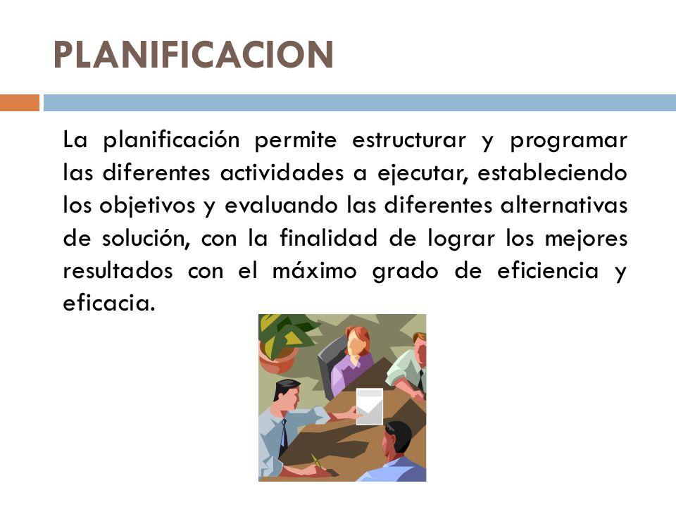 DEFINICIONES DE PLANIFICACION La Planificación es la primera función de la administración, y consiste en determinar las metas u objetivos a cumplir.
