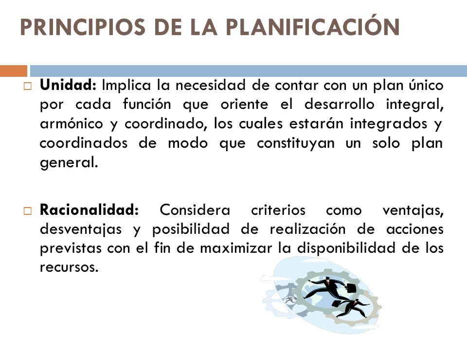 PRINCIPIOS DE LA PLANIFICACIÓN Previsión: Busca anticipar el comportamiento de las variables que se encuentran fuera del control humano.