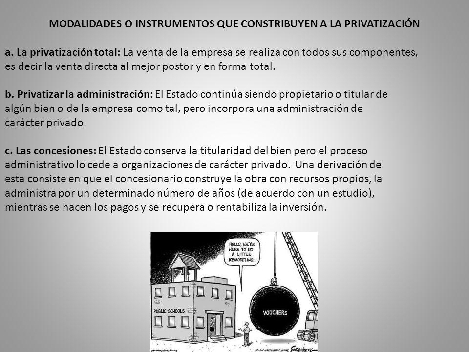 MODALIDADES O INSTRUMENTOS QUE CONSTRIBUYEN A LA PRIVATIZACIÓN a.