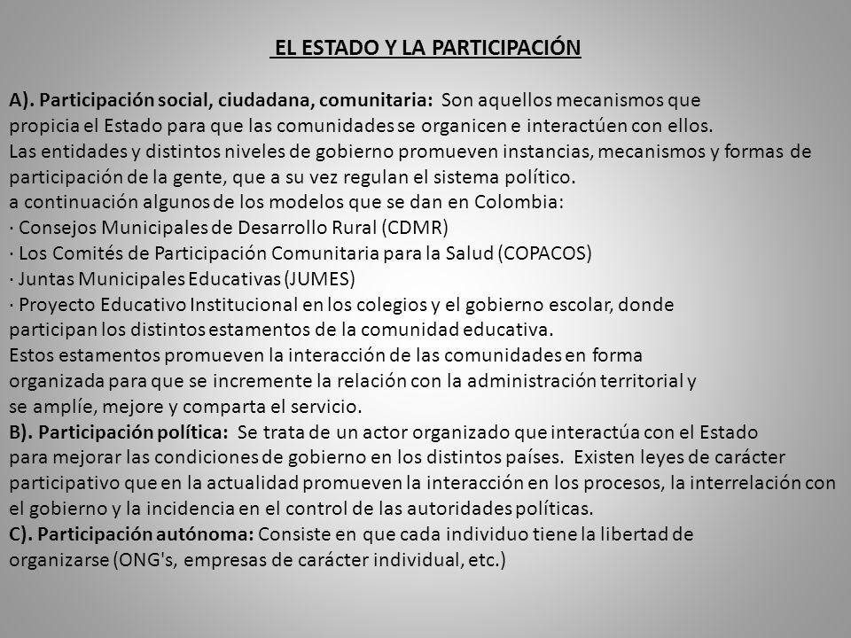 EL ESTADO Y LA PARTICIPACIÓN A).