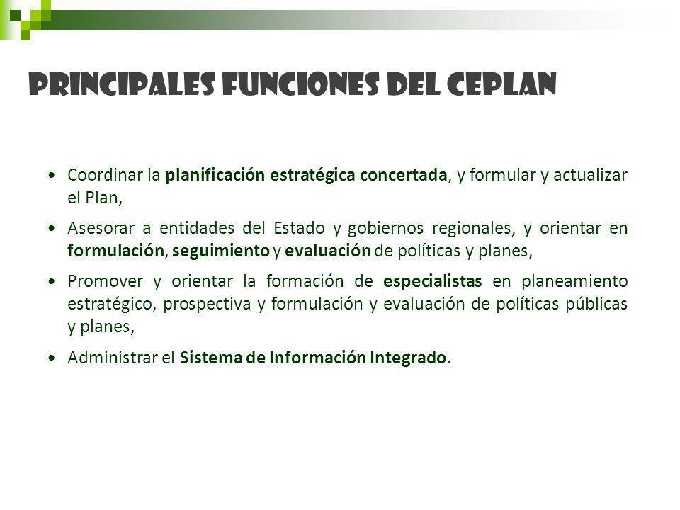 Coordinar la planificación estratégica concertada, y formular y actualizar el Plan, Asesorar a entidades del Estado y gobiernos regionales, y orientar