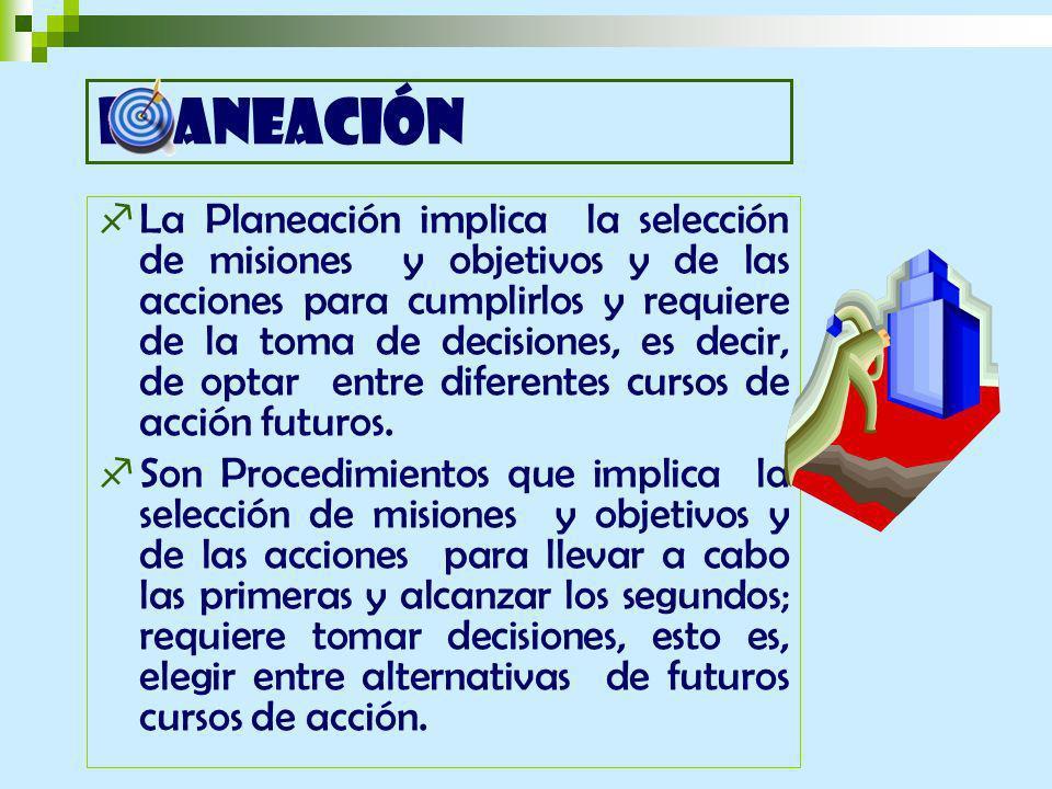 La Planeación implica la selección de misiones y objetivos y de las acciones para cumplirlos y requiere de la toma de decisiones, es decir, de optar entre diferentes cursos de acción futuros.