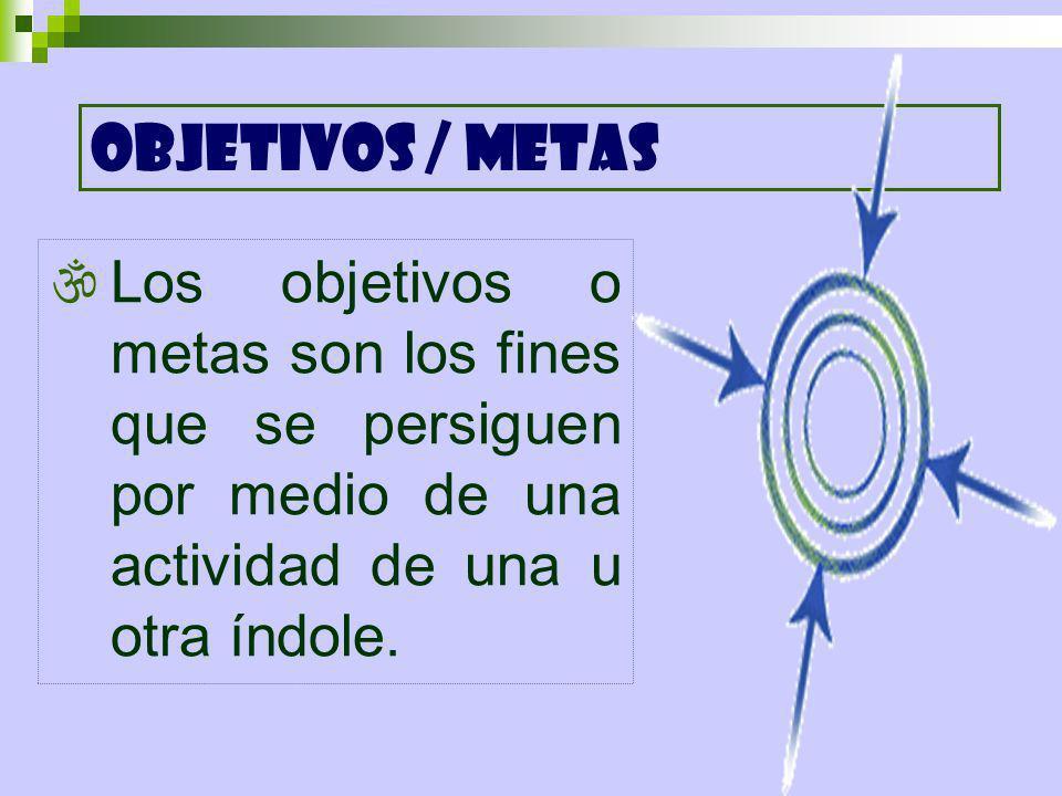 Los objetivos o metas son los fines que se persiguen por medio de una actividad de una u otra índole. OBJETIVOS / METAS