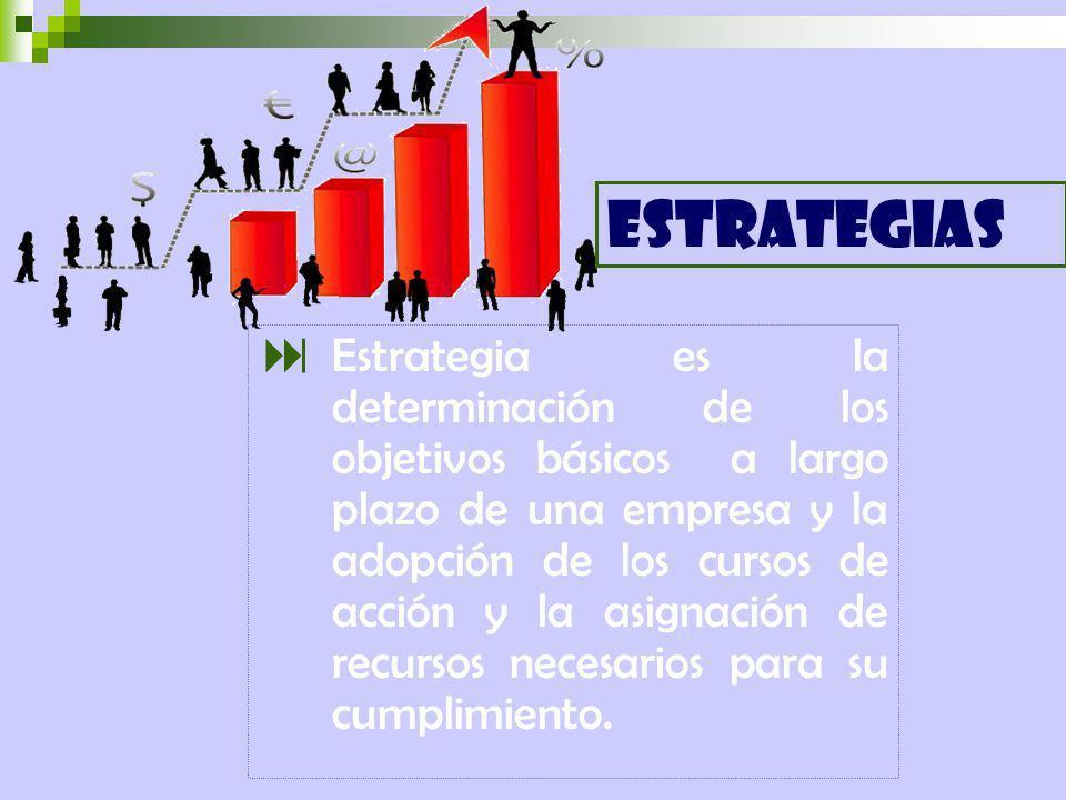 Estrategia es la determinación de los objetivos básicos a largo plazo de una empresa y la adopción de los cursos de acción y la asignación de recursos necesarios para su cumplimiento.