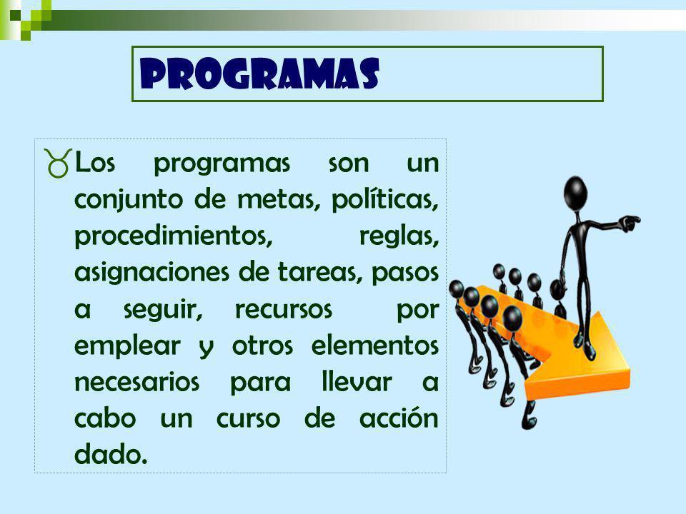 Los programas son un conjunto de metas, políticas, procedimientos, reglas, asignaciones de tareas, pasos a seguir, recursos por emplear y otros elementos necesarios para llevar a cabo un curso de acción dado.