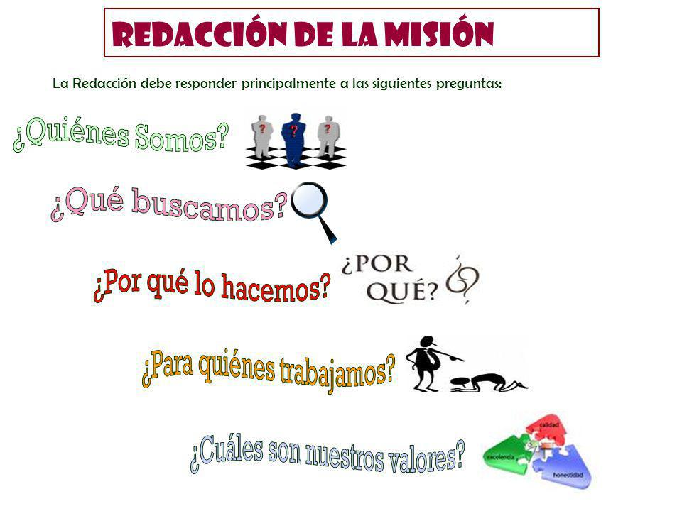 La Redacción debe responder principalmente a las siguientes preguntas: REDACCIÓN DE LA MISIÓN