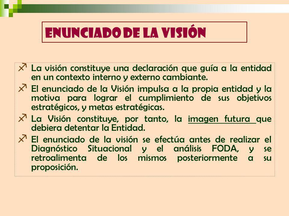 La visión constituye una declaración que guía a la entidad en un contexto interno y externo cambiante. El enunciado de la Visión impulsa a la propia e