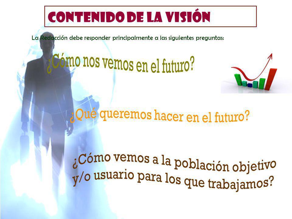 CONTENIDO DE LA VISIÓN La Redacción debe responder principalmente a las siguientes preguntas: