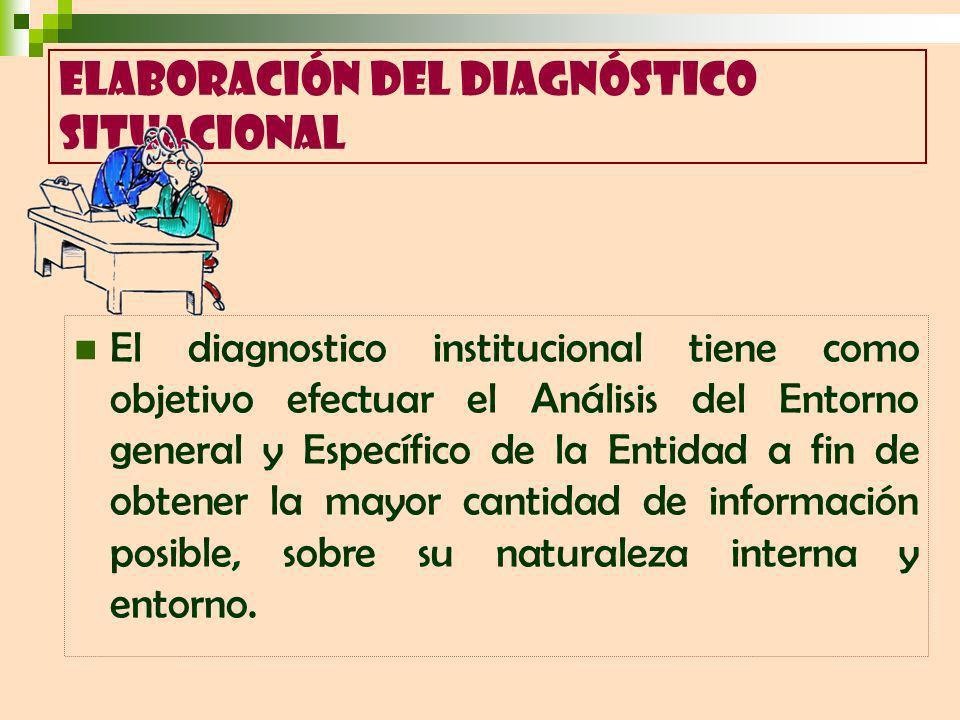 El diagnostico institucional tiene como objetivo efectuar el Análisis del Entorno general y Específico de la Entidad a fin de obtener la mayor cantidad de información posible, sobre su naturaleza interna y entorno.