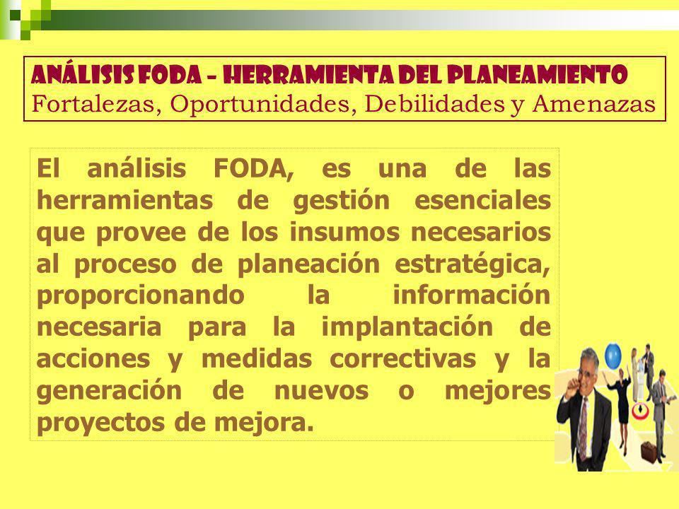 El análisis FODA, es una de las herramientas de gestión esenciales que provee de los insumos necesarios al proceso de planeación estratégica, proporci