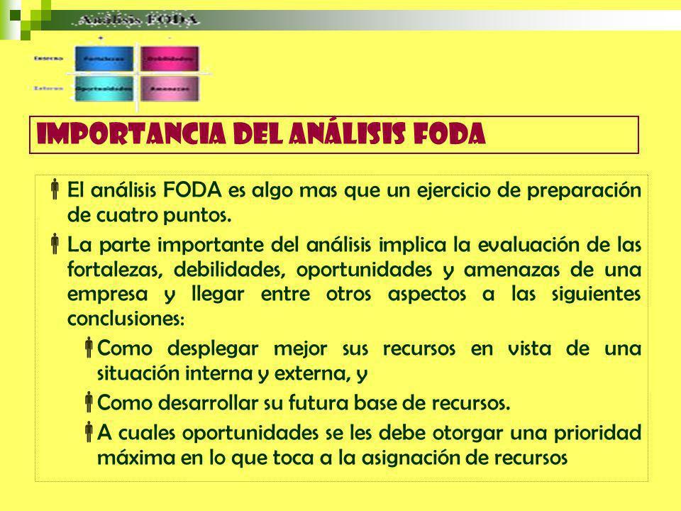 El análisis FODA es algo mas que un ejercicio de preparación de cuatro puntos.