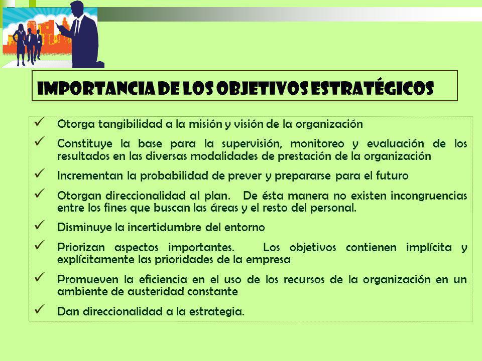 Otorga tangibilidad a la misión y visión de la organización Constituye la base para la supervisión, monitoreo y evaluación de los resultados en las di