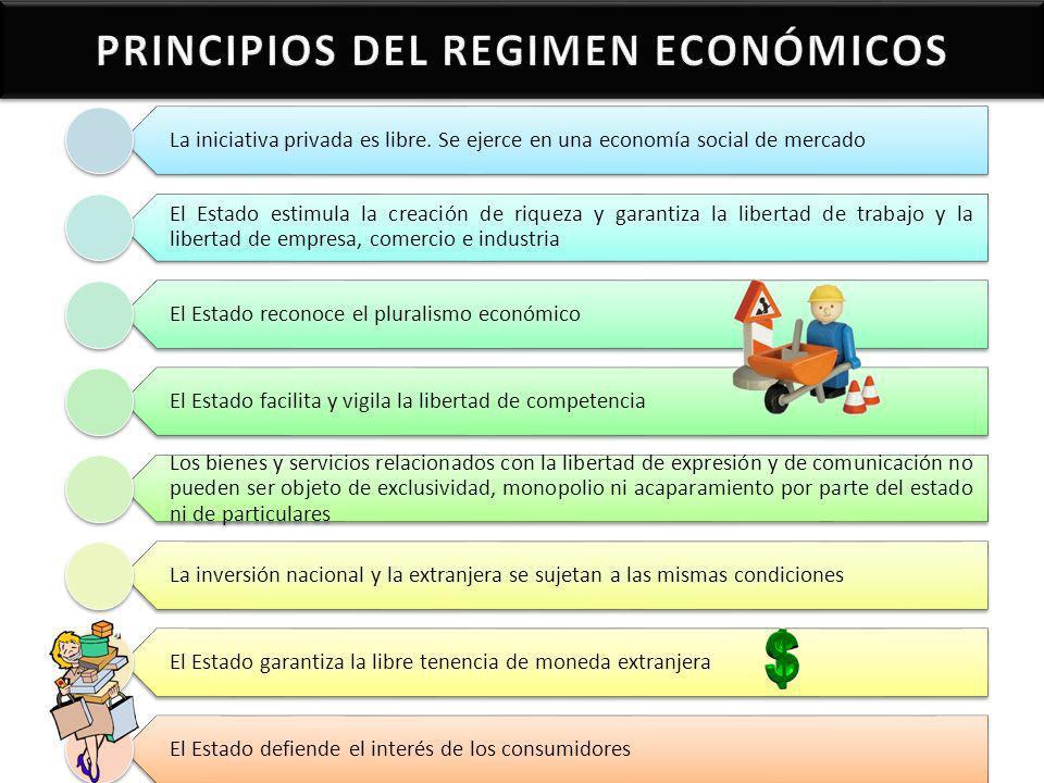 La iniciativa privada es libre. Se ejerce en una economía social de mercado El Estado estimula la creación de riqueza y garantiza la libertad de traba