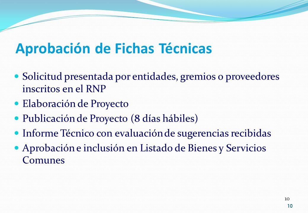 10 Aprobación de Fichas Técnicas Solicitud presentada por entidades, gremios o proveedores inscritos en el RNP Elaboración de Proyecto Publicación de