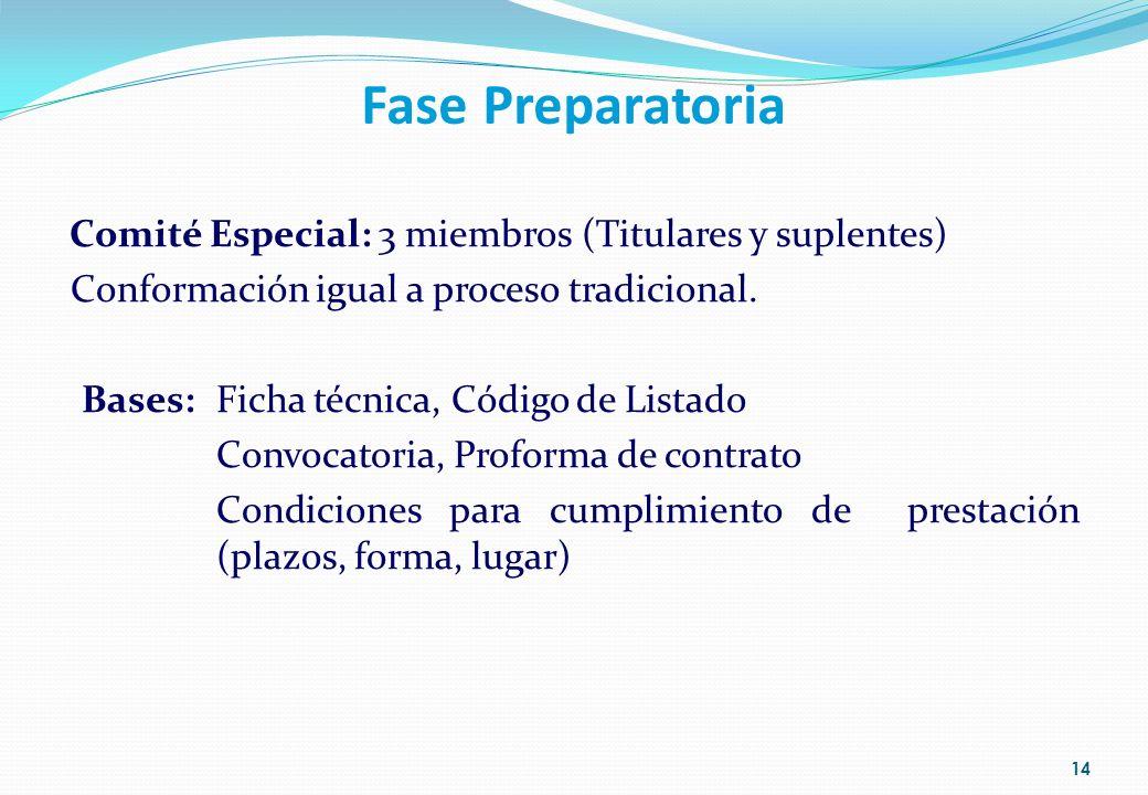 Fase Preparatoria Comité Especial: 3 miembros (Titulares y suplentes) Conformación igual a proceso tradicional. Bases: Ficha técnica, Código de Listad