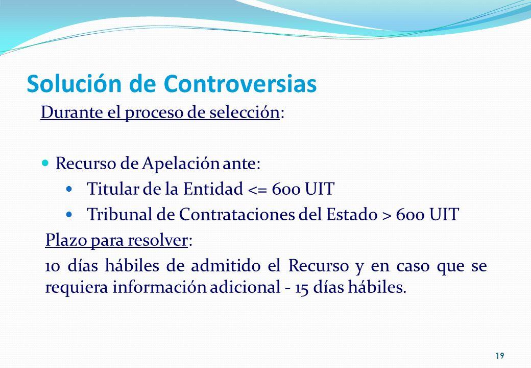 Solución de Controversias Durante el proceso de selección: Recurso de Apelación ante: Titular de la Entidad <= 600 UIT Tribunal de Contrataciones del