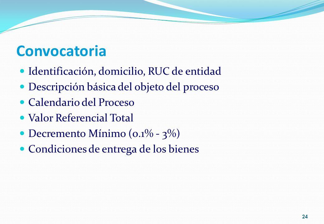 Convocatoria Identificación, domicilio, RUC de entidad Descripción básica del objeto del proceso Calendario del Proceso Valor Referencial Total Decrem