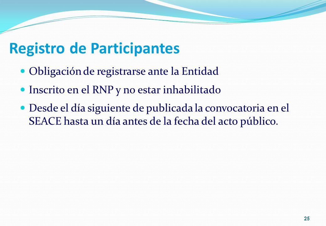 Registro de Participantes Obligación de registrarse ante la Entidad Inscrito en el RNP y no estar inhabilitado Desde el día siguiente de publicada la
