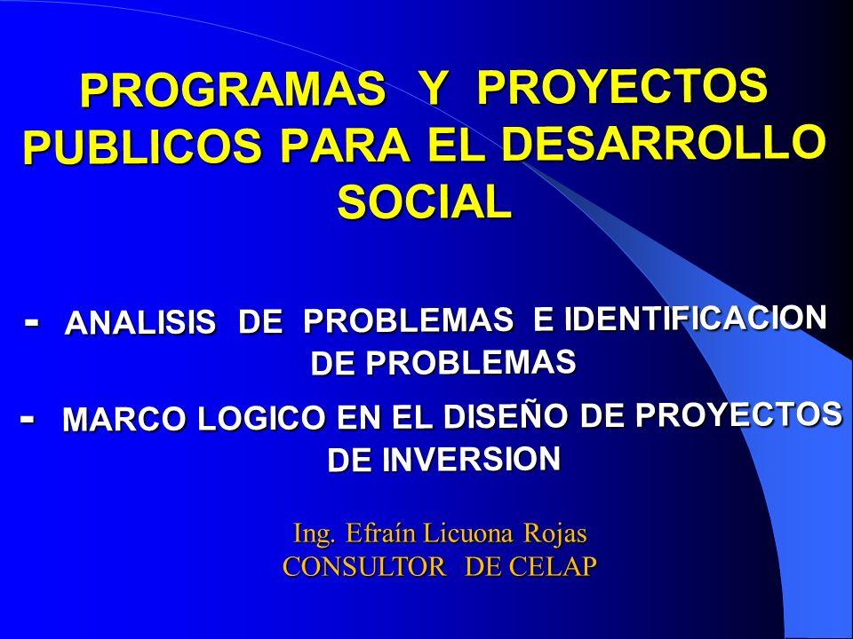 PROGRAMAS Y PROYECTOS PUBLICOS PARA EL DESARROLLO SOCIAL - ANALISIS DE PROBLEMAS E IDENTIFICACION DE PROBLEMAS - MARCO LOGICO EN EL DISEÑO DE PROYECTO