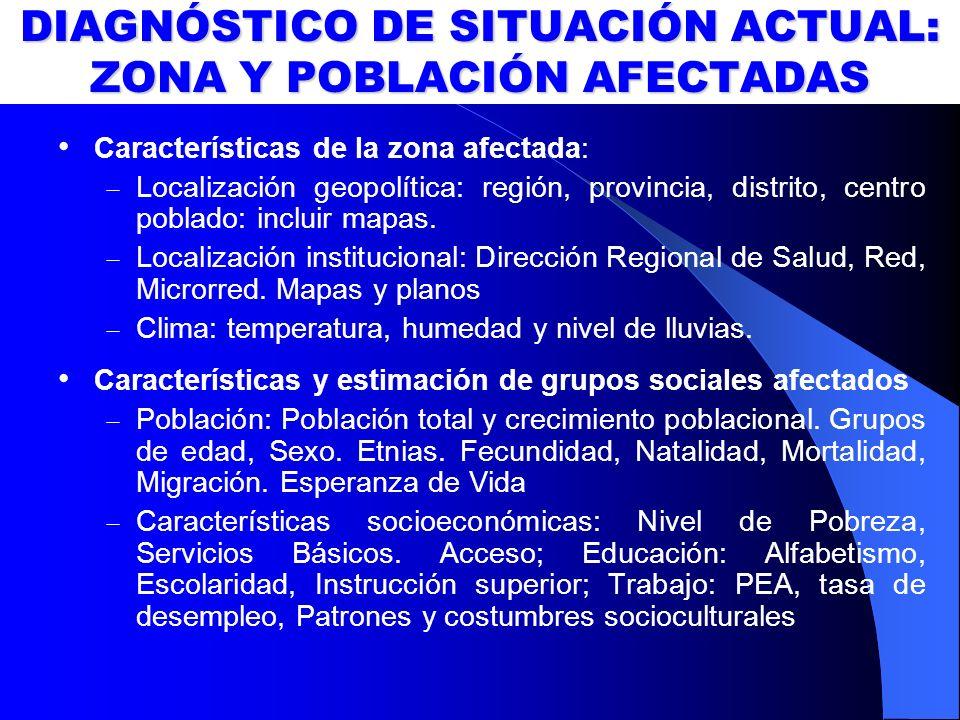 DIAGNÓSTICO DE SITUACIÓN ACTUAL: ZONA Y POBLACIÓN AFECTADAS Características de la zona afectada: Localización geopolítica: región, provincia, distrito