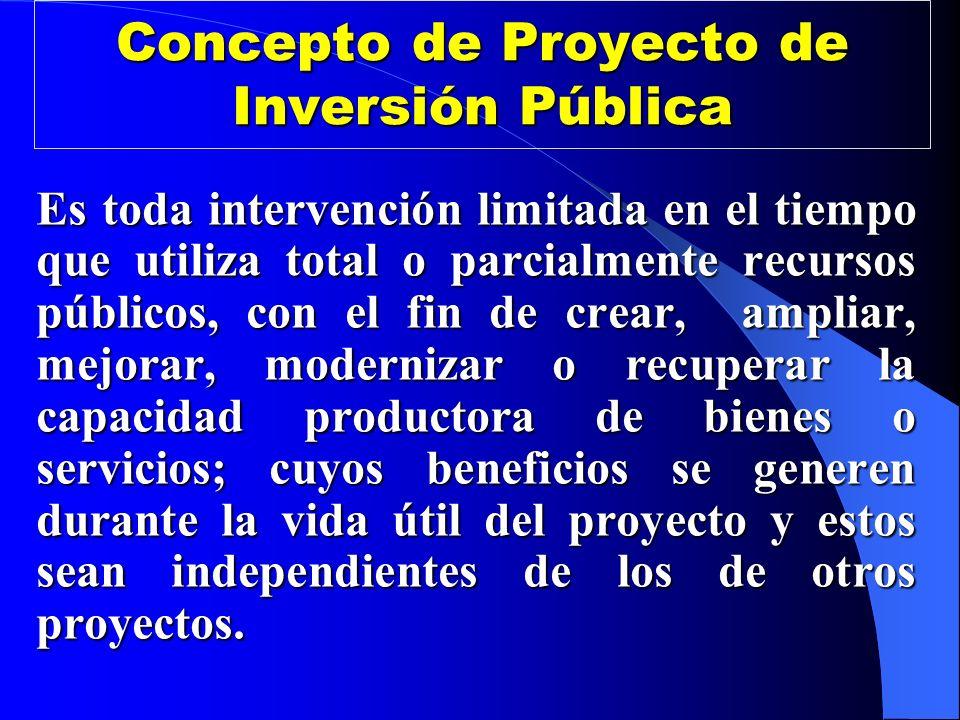 Concepto de Proyecto de Inversión Pública Es toda intervención limitada en el tiempo que utiliza total o parcialmente recursos públicos, con el fin de