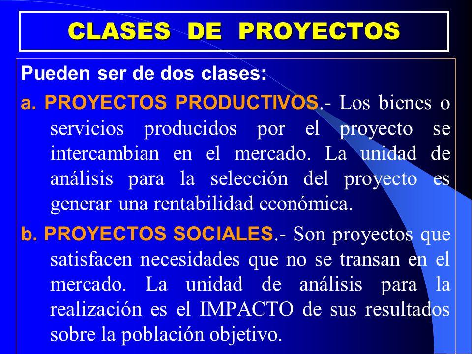 CLASES DE PROYECTOS Pueden ser de dos clases: a. PROYECTOS PRODUCTIVOS.- Los bienes o servicios producidos por el proyecto se intercambian en el merca