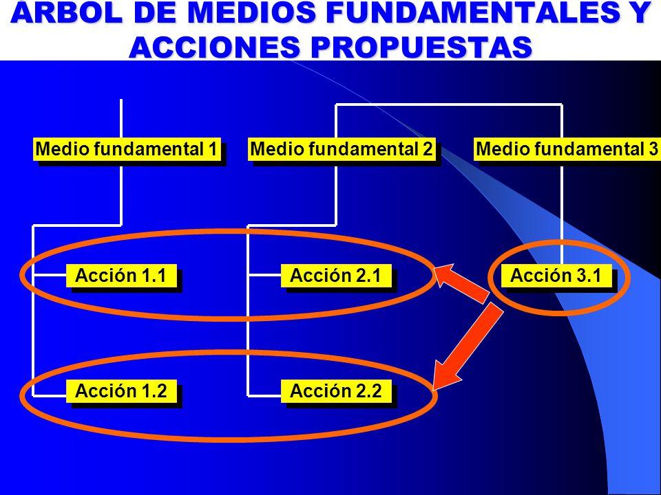 ÁRBOL DE MEDIOS FUNDAMENTALES Y ACCIONES PROPUESTAS Acción 1.1 Acción 2.1 Acción 1.2 Acción 2.2 Medio fundamental 1 Acción 3.1 Medio fundamental 2 Med
