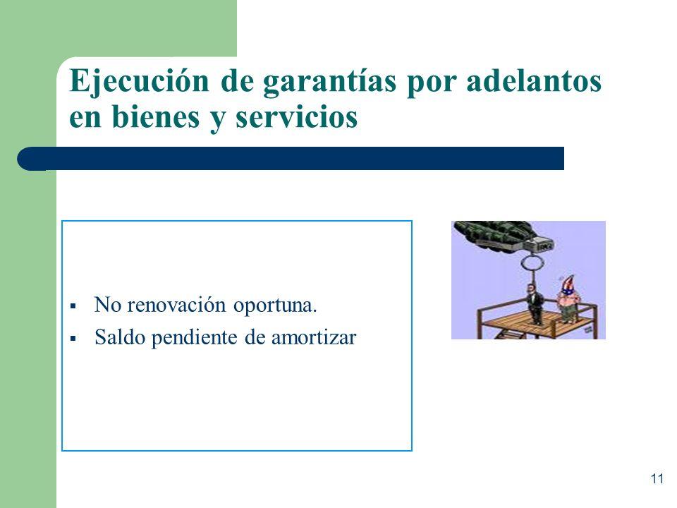 10 Causales de ejecución de las garantías de fiel cumplimiento y de MDP No renovación oportuna. Sólo queda en custodia el monto ejecutado. Resolución