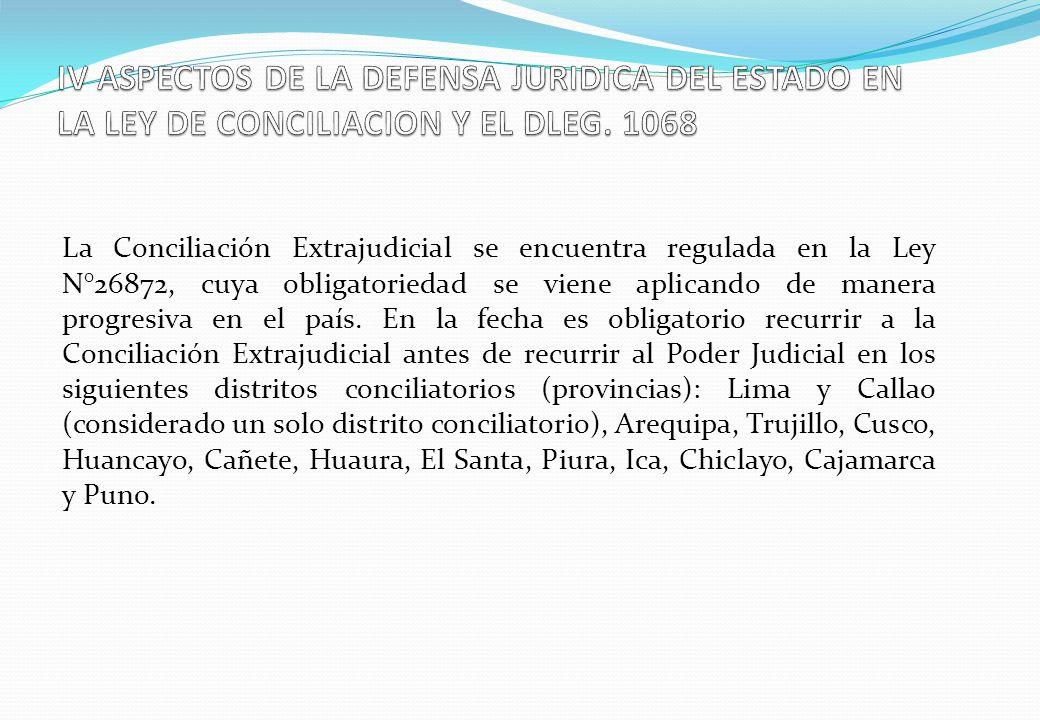 La Conciliación Extrajudicial se encuentra regulada en la Ley N°26872, cuya obligatoriedad se viene aplicando de manera progresiva en el país. En la f