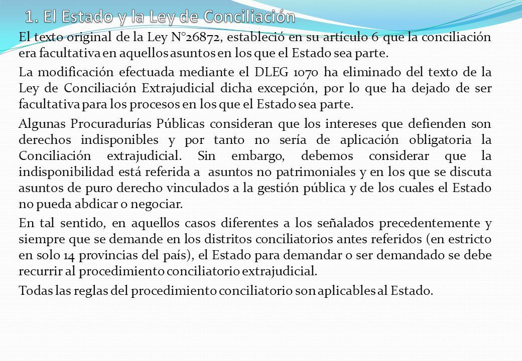 El texto original de la Ley N°26872, estableció en su artículo 6 que la conciliación era facultativa en aquellos asuntos en los que el Estado sea part