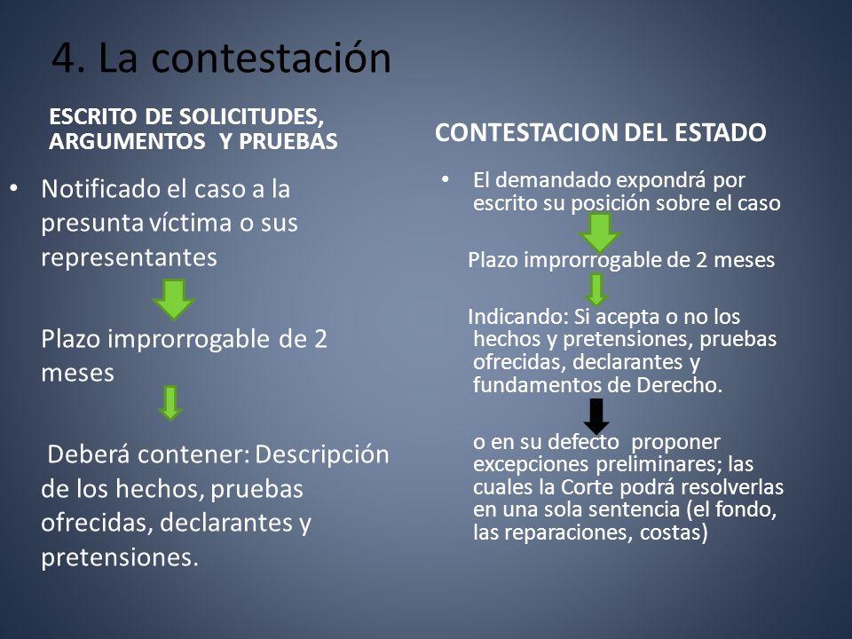 4. La contestación ESCRITO DE SOLICITUDES, ARGUMENTOS Y PRUEBAS Notificado el caso a la presunta víctima o sus representantes Plazo improrrogable de 2
