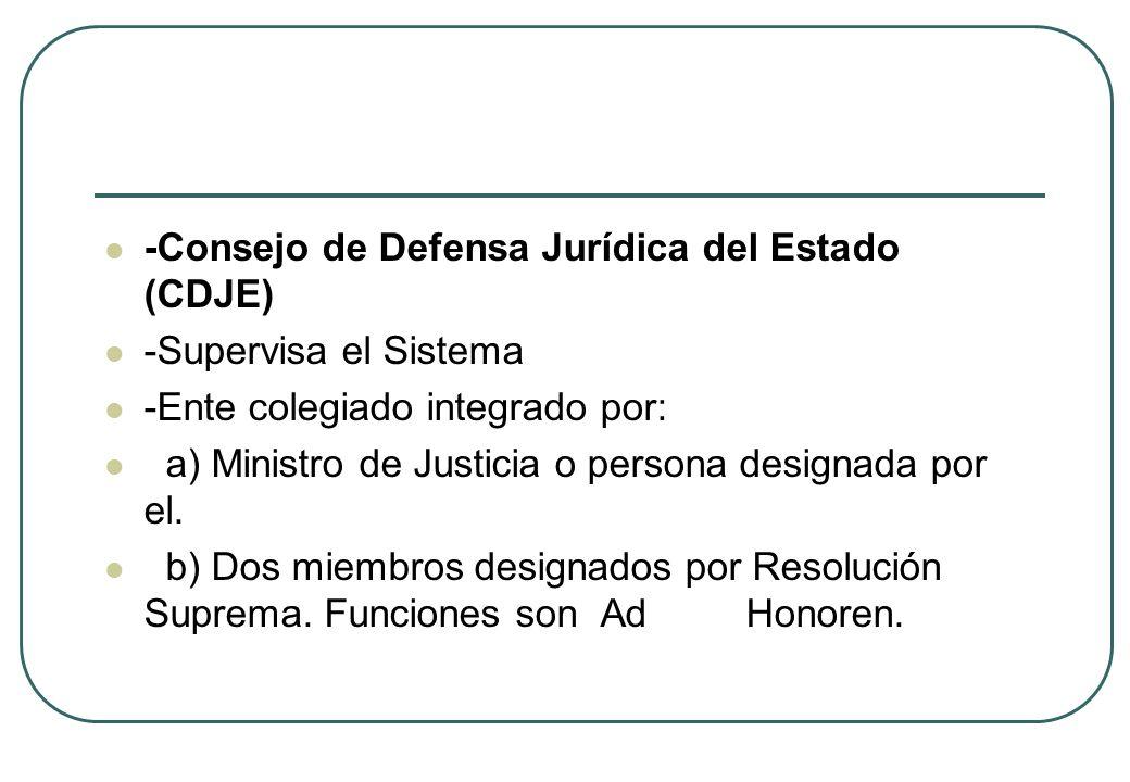 -Consejo de Defensa Jurídica del Estado (CDJE) -Supervisa el Sistema -Ente colegiado integrado por: a) Ministro de Justicia o persona designada por el