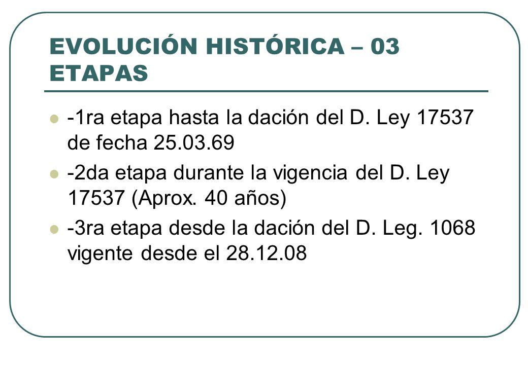 EVOLUCIÓN HISTÓRICA – 03 ETAPAS -1ra etapa hasta la dación del D. Ley 17537 de fecha 25.03.69 -2da etapa durante la vigencia del D. Ley 17537 (Aprox.