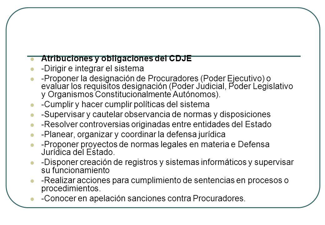 Atribuciones y obligaciones del CDJE -Dirigir e integrar el sistema -Proponer la designación de Procuradores (Poder Ejecutivo) o evaluar los requisito