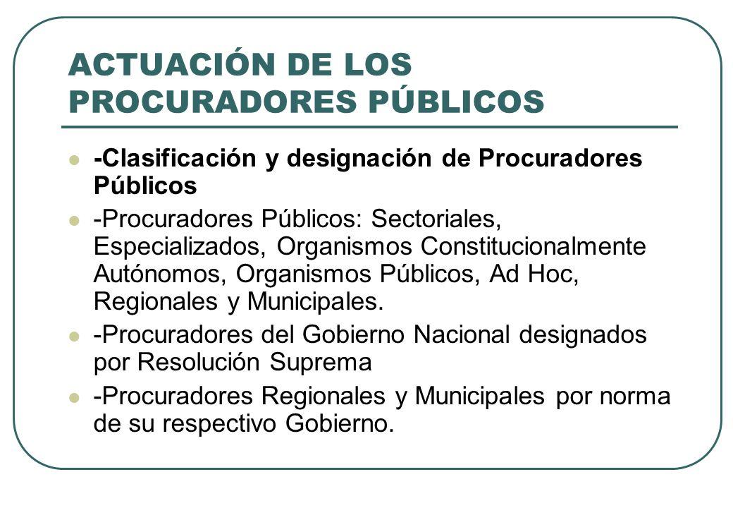 ACTUACIÓN DE LOS PROCURADORES PÚBLICOS -Clasificación y designación de Procuradores Públicos -Procuradores Públicos: Sectoriales, Especializados, Orga