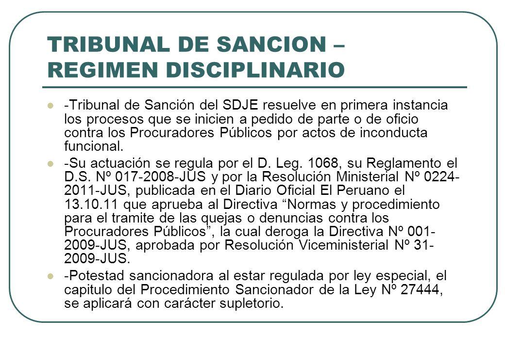 TRIBUNAL DE SANCION – REGIMEN DISCIPLINARIO -Tribunal de Sanción del SDJE resuelve en primera instancia los procesos que se inicien a pedido de parte