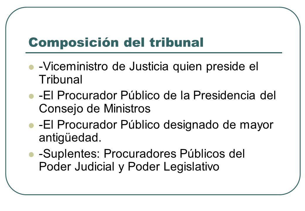 Composición del tribunal -Viceministro de Justicia quien preside el Tribunal -El Procurador Público de la Presidencia del Consejo de Ministros -El Pro