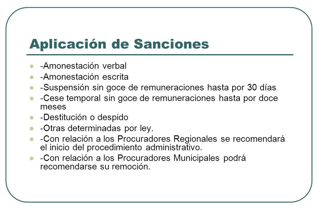 Aplicación de Sanciones -Amonestación verbal -Amonestación escrita -Suspensión sin goce de remuneraciones hasta por 30 días -Cese temporal sin goce de