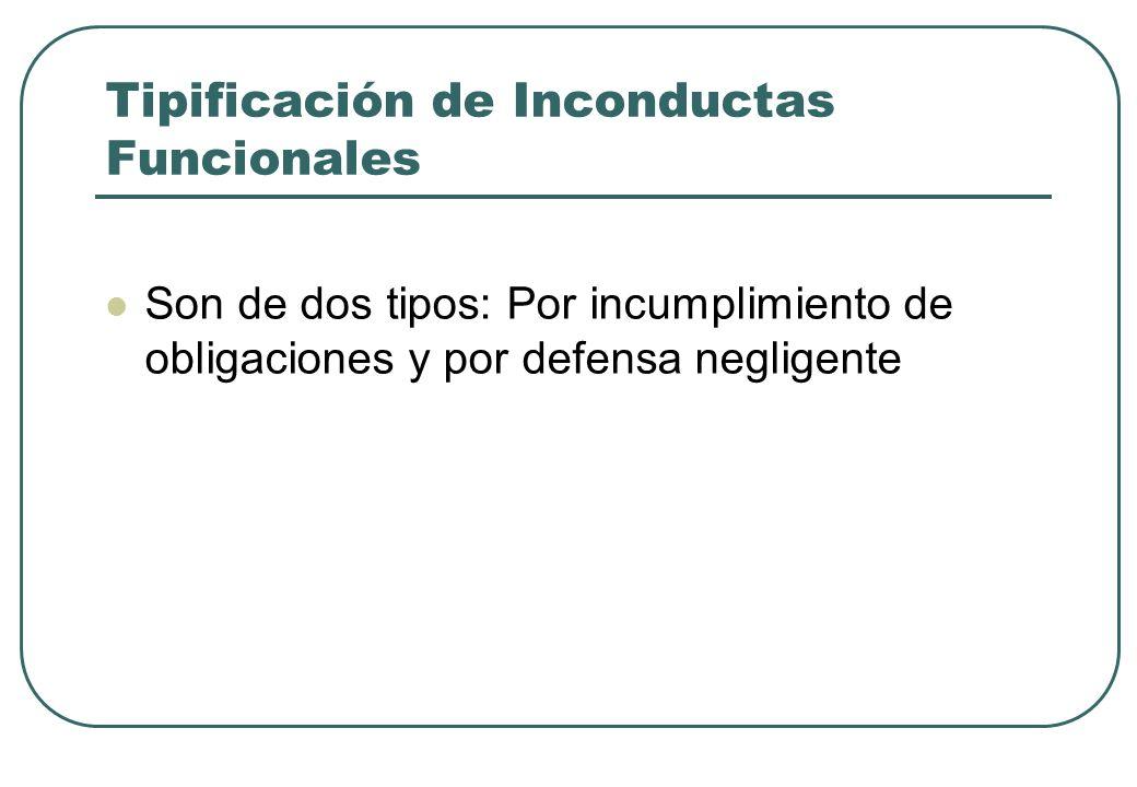 Tipificación de Inconductas Funcionales Son de dos tipos: Por incumplimiento de obligaciones y por defensa negligente